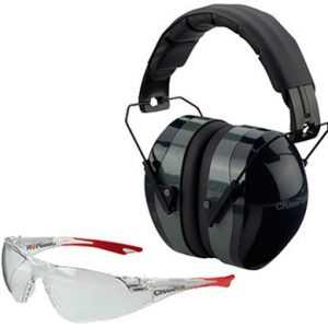 Champion Shooting Earmuffs and Glasses Combo - Clear/Green