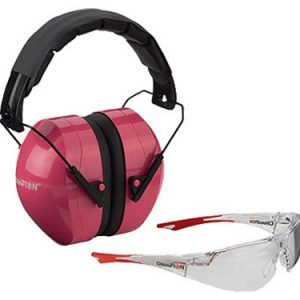 Champion Shooting Earmuffs and Glasses Combo - Clear/Pink