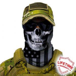 Alpha Defense Gear Blackout American Flag Skull Face Shield™ / Multi-Use Tubular Bandana / Polyester