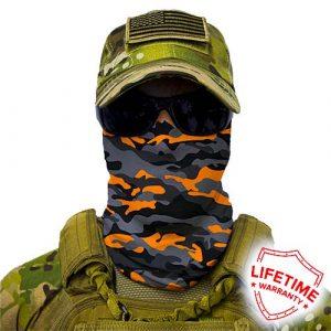 Alpha Defense Gear Orange & Grey Military Camo Face Shield™ / Multi-Use Tubular Bandana / Polyester