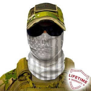 Alpha Defense Gear Ghost We The People Face Shield™ / Multi-Use Tubular Bandana / Polyester / White