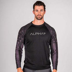 Alpha Defense Gear TACTICAL Long Sleeve T-Shirt w/Mesh / Black / 2 Sleeve T-Shirt-B/O American Flag / Size L