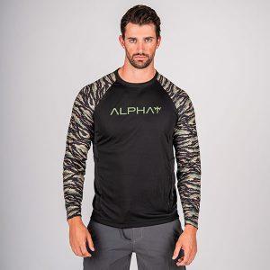 Alpha Defense Gear TACTICAL Long Sleeve T-Shirt w/Mesh / Black / 2 Sleeve T-Shirt-Tiger Camo / Size M