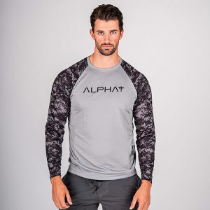Alpha Defense Gear TACTICAL Long Sleeve T-Shirt w/Mesh / Grey / 2 Sleeve T-Shirt-B/O Digi Camo / Size L