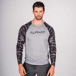 Alpha Defense Gear TACTICAL Long Sleeve T-Shirt w/Mesh / Grey / 2 Sleeve T-Shirt-B/O Digi Camo / Size M
