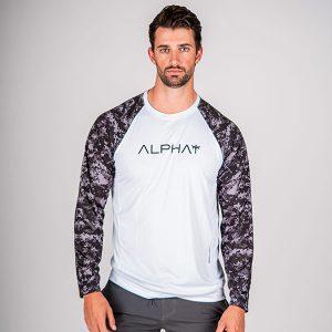 Alpha Defense Gear TACTICAL Long Sleeve T-Shirt w/Mesh / White / 2 Sleeve T-Shirt-B/O Digi Camo / Size L