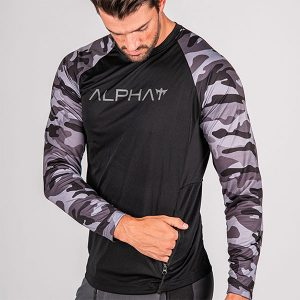 Alpha Defense Gear TACTICAL Long Sleeve T-Shirt w/Mesh / Black / 2 Sleeve T-Shirt-Blackout Military Camo / Alpha / Size 2XL
